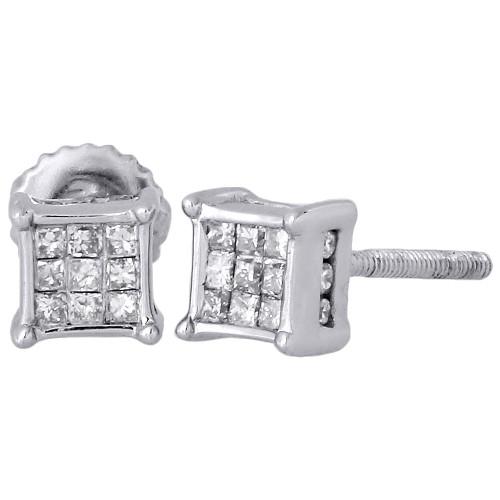 14K White Gold Princess & Round Diamond 3D Cube Stud 4 Prong Earrings 0.25 Ct.