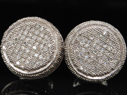 Diamond Circle Earrings Mens .925 Sterling Silver Round Pave Studs 0.75 Tcw.