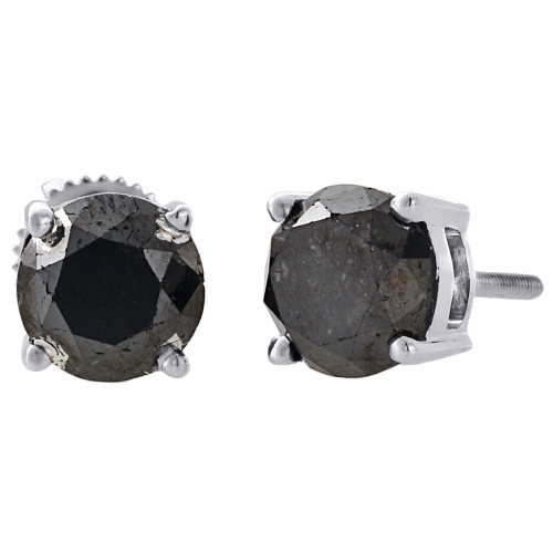 10K White Gold Black Solitaire Round Diamond Studs 6.70mm AAA Earrings 3 Ct.