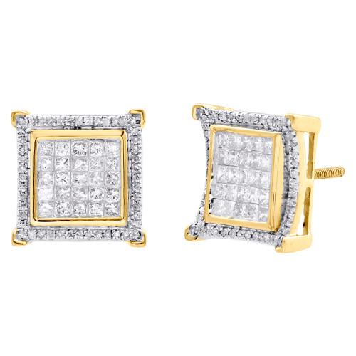 10K Yellow Gold Princess Cut Diamond Square Halo Frame Earrings Studs 1.25 CT.