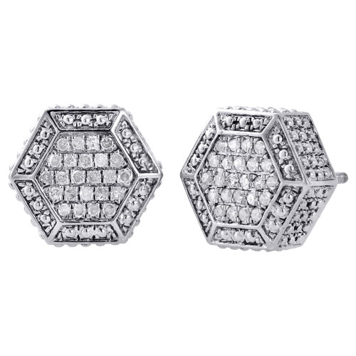 .925 Sterling Silver Diamond Studs 3D Hexagon Shape 12mm Pave Earrings 0.33 Ct.