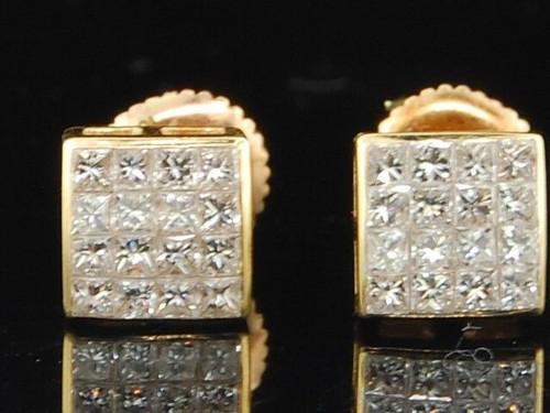 Diamond Stud Earrings Mens 14K Yellow Gold Square Princess Cut 0.61 Tcw.