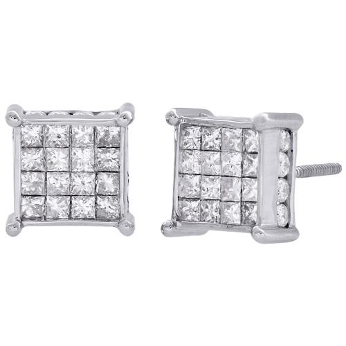 14K White Gold Princess Diamond Square Studs 4 Prong 9mm 3D Earrings 1.50 CT.