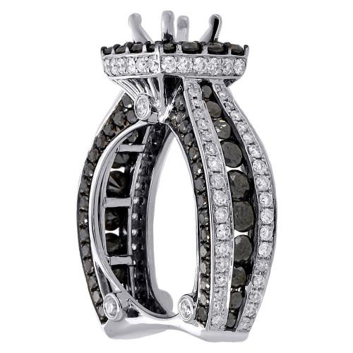 14K White Gold Black Diamond Solitaire Semi Mount Halo Engagement Ring 4.38 Ct.