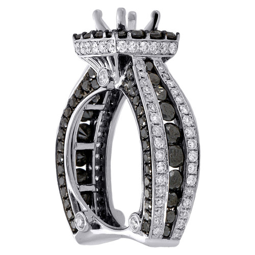14K White Gold Black Diamond Solitaire Semi Mount Halo Engagement Ring 4.38 Ct.