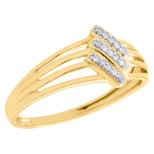 Womens 10K Yellow Gold Real Diamond Split Shank Engagement Promise Ring 1/20 CT.