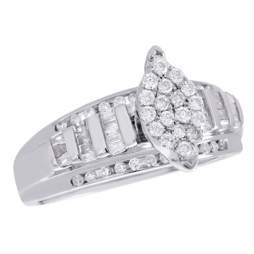 .925 Sterling Silver Baguette Diamond Marquise Cluster Engagement Ring 0.50 CT.