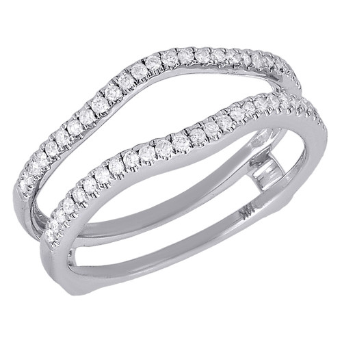 14K White Gold Diamond Solitaire Engagement Ring Enhancer Ladies Wrap  0.50 Ct.