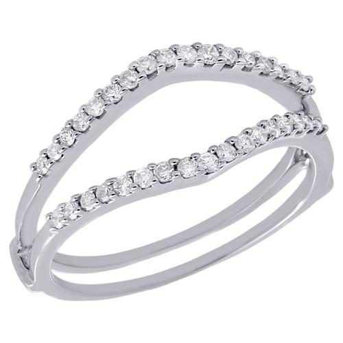 14K White Gold Ladies Genuine Diamond Enhancer Wrap Jacket Wedding Ring 0.25 Ct.