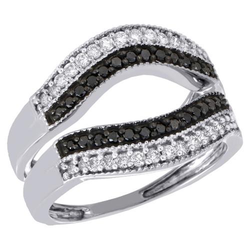 10K White Gold Black Diamond Enhancer Ring Wrap Contour Wedding Band 0.50 Ct.