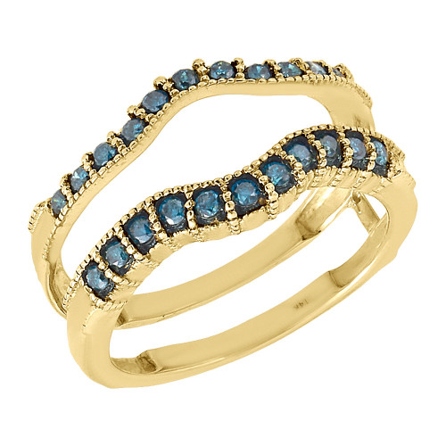 14K Yellow Gold Blue Diamond Solitaire Enhancer Wrap Ladies Ring Jacket 0.35 Ct.
