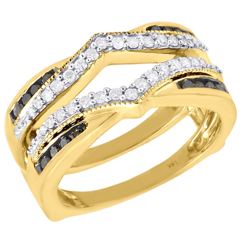 Black Diamond Enhancer Wrap Solitaire Engagement Ring 14K Yellow Gold 1/2 Ct