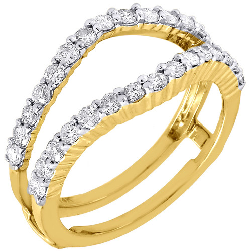 14K Yellow Gold Diamond Solitaire Engagement Wrap Enhancer Ring Round Cut 3/4 Ct