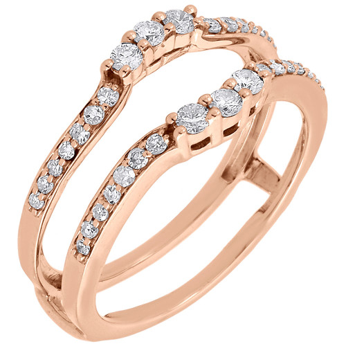 Diamond Enhancer Solitaire Wrap Engagement Ring Jacket 10K Rose Gold 0.38 Ct.