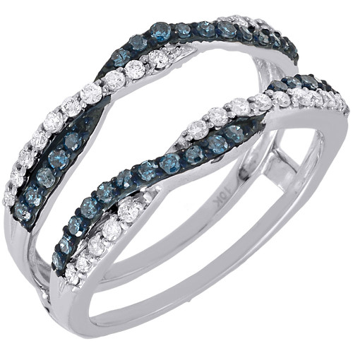 Blue Diamond Solitaire Engagement Ring Enhancer Wrap 10K White Gold 0.47 Ctw.