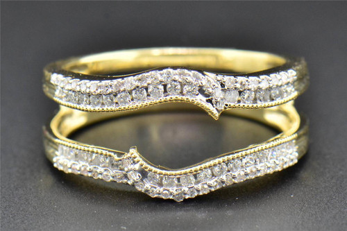 Diamond Enhancer Wrap Solitaire Engagement Ring Round Cut 14K Yellow Gold .38 Ct