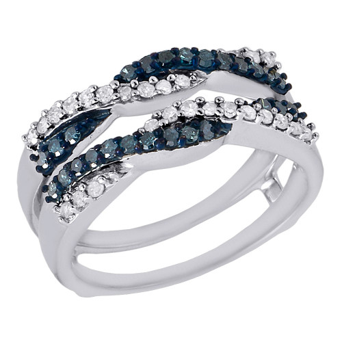 Blue White Diamond Solitaire Engagement Ring Enhancer Wrap 10K White Gold .50 Ct