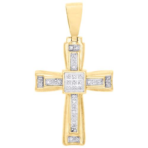 "10K Yellow Gold Real Diamond Tier Frame Fancy Cross Pendant 1.60"" Charm 1/10 CT."