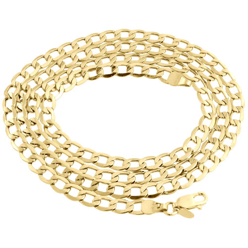 10K Yellow Gold 5.40mm Plain Hollow Cuban Curb Chain Link Necklace 16-30 Inch