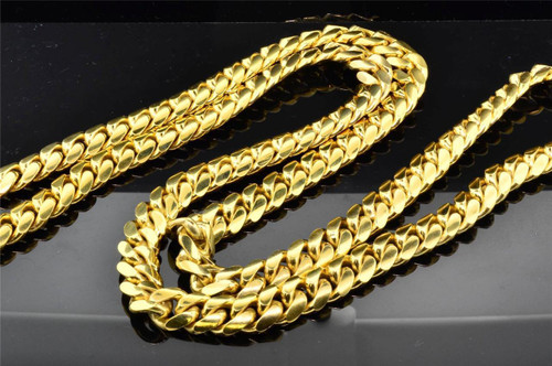 10K Solid Heavy 11.37MM Yellow Gold Miami Cuban Link Chain Necklace 36 Inch 309g
