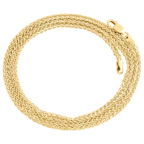 Real 10K Yellow Gold Rounded 3D Spiga Link Chain 2mm Unisex Necklace 16-24 Inch
