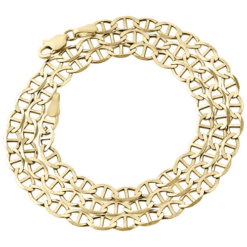 Real 10K Yellow Gold Solid Flat Mariner Chain 4mm Necklace Plain 16-30 Inches