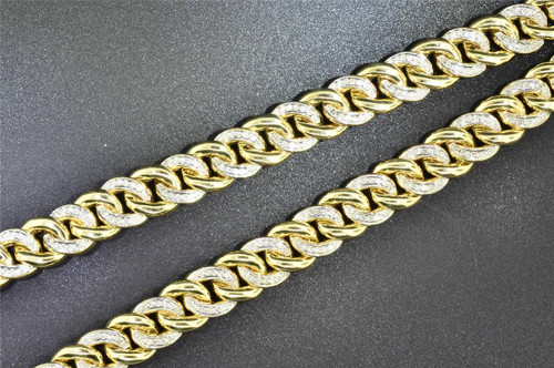 10K Solid Heavy Yellow Gold Miami Cuban Chain Necklace with 5.35 CT Diamond