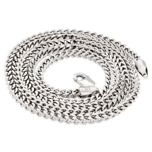 10k Real White Gold 2.0 MM Franco Box Cuban Chain Necklace 18 Inch