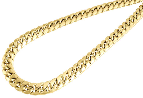 10K Yellow Gold Semi Hollow 9 MM Miami Cuban Link Necklace Chain 30 - 36 inch