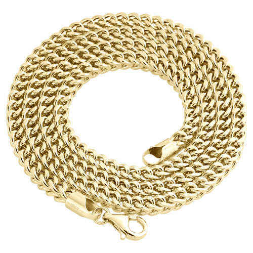 Real 10K Yellow Gold 3D Hollow Franco Box Link Chain 4.50mm Necklace 26-40 Inch