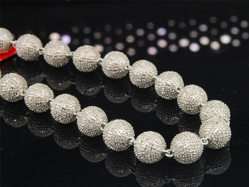3D Beaded Diamond Chain Mens .925 Sterling Silver Macrame Necklace 15.78 Tcw.