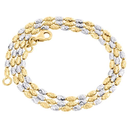 10K Two Tone Gold 2MM Typhoon Moon Cut Italian Bead Chain Necklace 16 - 24 Inch