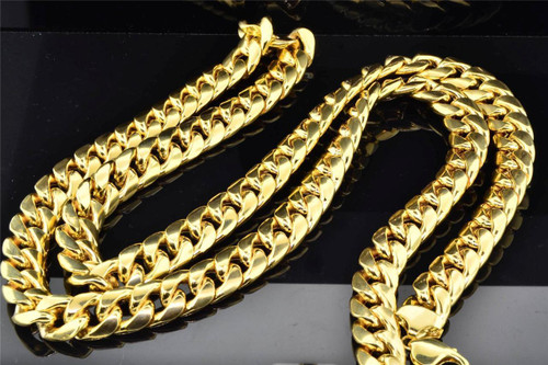 10K Heavy 13.00MM Yellow Gold Miami Cuban Link Franco Chain Necklace 36 Inch