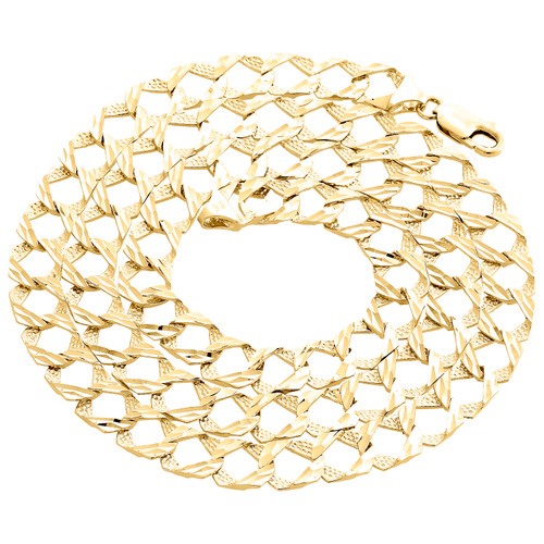 "10K Yellow Gold Diamond Cut Textured Fancy Cuban Link Chain 10mm Necklace 28"""