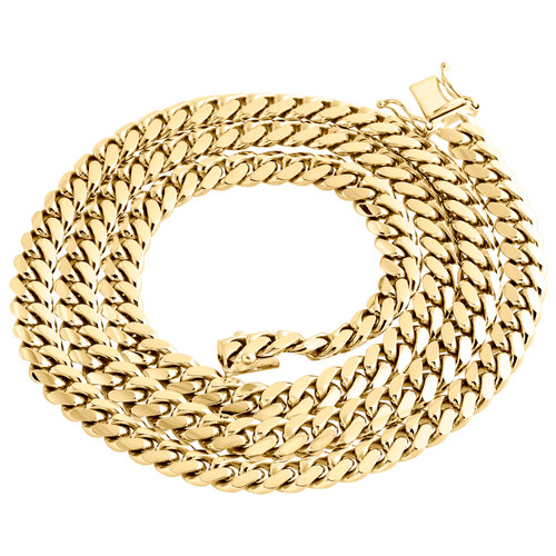 14K Yellow Gold Solid Miami Cuban Link Chain 7mm Box Clasp Necklace 24-30 Inches
