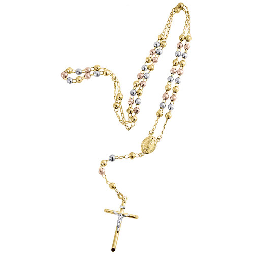 10K Mens or Ladies Tri Color Real Gold Rosary Diamond Cut Necklace Chain 30 Inch