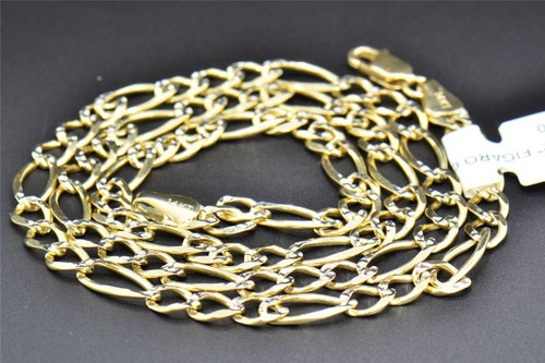 Figaro Diamond Cut 14K Yellow Gold 5MM Link Chain 22 Inch Necklace 17 Grams