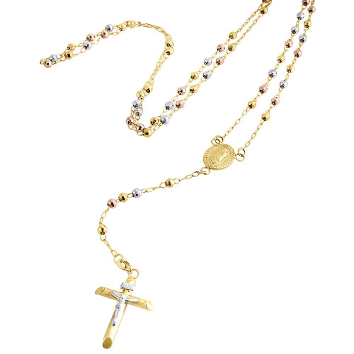 10K Gold Virgin Mary Tri-Color Rosary Diamond Cut Bead 3mm Necklace Chain 30.5""