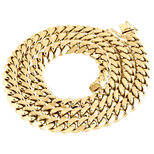 10K Yellow Gold Solid Miami Cuban Link Chain 9mm Box Clasp Necklace 26-36 Inches