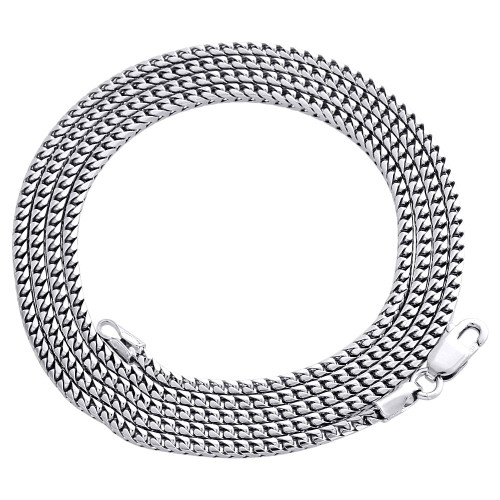 10K White Gold Solid Franco Box Chain Closed Link 1.80 Necklace 22 - 30 Inches
