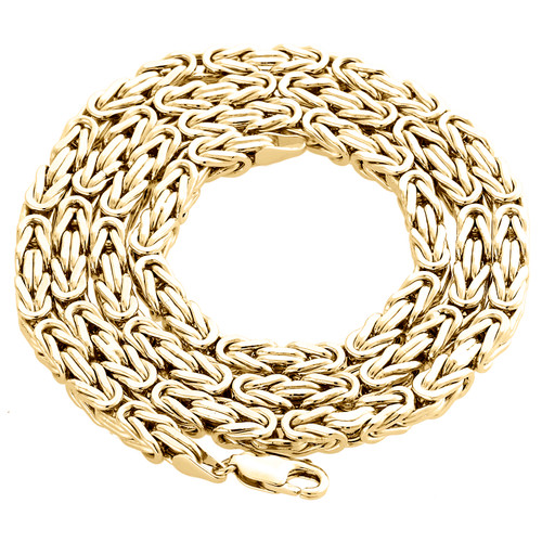 Mens Real 10K Yellow Gold Box Byzantine Link Chain 4.90mm Necklace 22-30 Inches