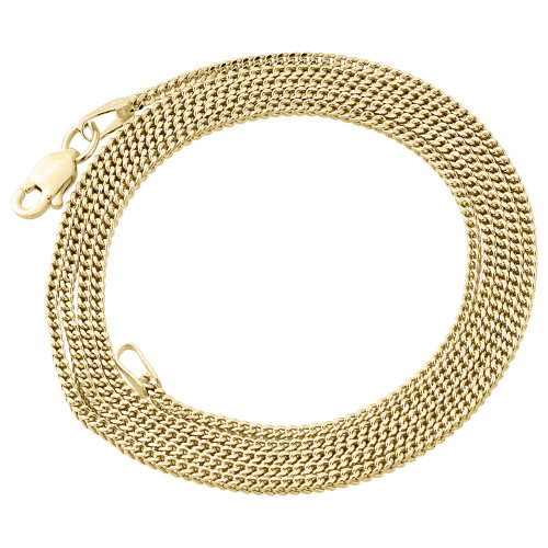 10K Real Yellow Gold  1.5MM Hollow Franco Box Link Chain Necklace 22 - 30 Inches