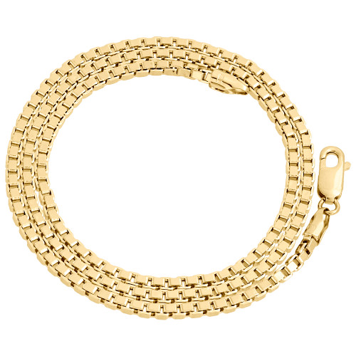 Real 10K Yellow Gold Solid Square Box Link Chain 2.50mm Necklace 18-24 Inches