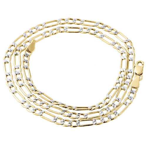10K Yellow Gold Diamond Cut Solid Figaro Style Chain 3.5mm Necklace 16-30 Inches