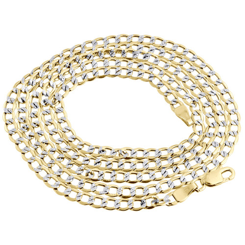 Mens or Ladies 10K Yellow Gold Flat Curb Cuban Chain 3.90mm Necklace 16-26 Inch