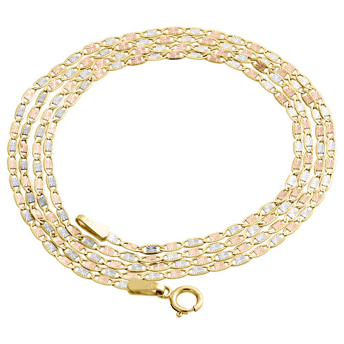 Real 10K Tri-Tone Gold Solid Valentino Link Chain 1.50mm Necklace 16 - 24 Inches
