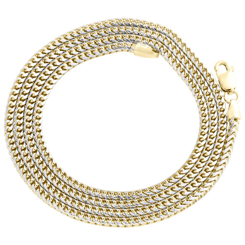 10K Yellow Gold Solid Diamond Cut Franco Box Chain 2mm Necklace 18 - 30 Inch