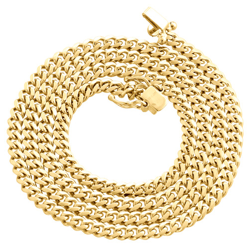 14K Yellow Gold Solid Miami Cuban Link Chain 4mm Box Clasp Necklace 24-28 Inch
