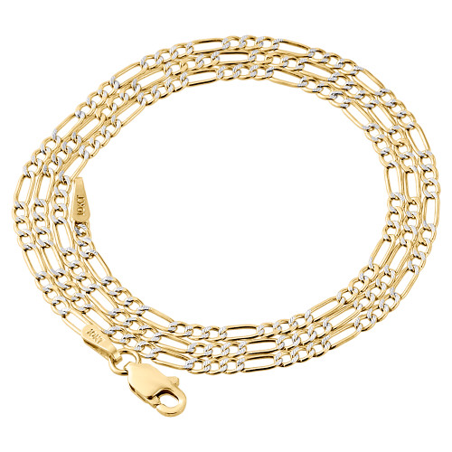 10K Yellow Gold Diamond Cut Solid Figaro Style Chain 2mm Necklace 16-24 Inches