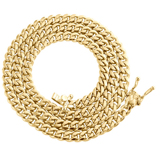 """Mens Real 10K Yellow Gold Super Solid Miami Cuban Link Chain 4mm Necklace 18-28"""""""